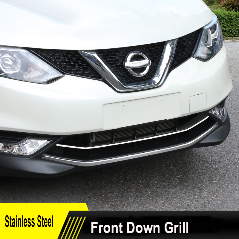 ФОТО ACCESSORIES FIT FOR 2014 2015 2016 NISSAN QASHQAI CHROME FRONT LOWER MESH GRILL GRILLE COVER TRIM GUARD MOLDING