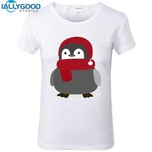 New Summer Kawaii T-Shirts Women Cartoon Cute Winter Penguin Print White T-shirts Cotton Slim Casual Women Tops S1079