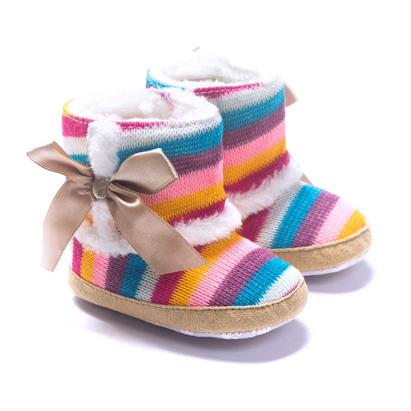 eb2f45536 طفلة الأحذية حذاء الشتاء الصوف بيبي أحذية المرجان الصوف الطفل أولا ووكر  المضادة للانزلاق قوس قزح 11-13 سنتيمتر الأطفال حذاء بدون كعب