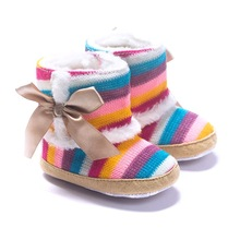 Baby Girls Boots Wełna Winter Bebe Buty Coral Fleece Baby First Walker Anti-Slip Rainbow 11-13CM
