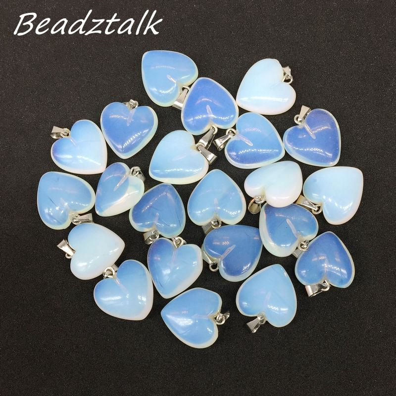 15 Colors Fashion Semi Precious Stone Heart Earrings Pendants Opal Howlite Onyx Charm Heart Pendant Jewelry 16 mm DIY Supplies