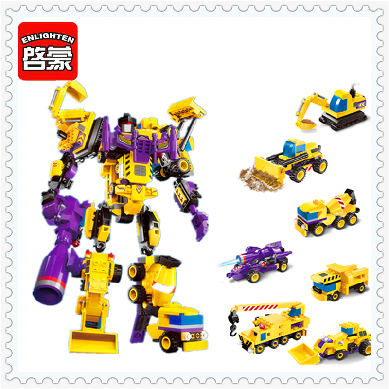ENLIGHTEN 1401 7In1 Robot Engineering Vehicle Model Building Block 599Pcs Educational  Toys For Children Compatible Legoe sluban 2500 block vehicle maintenance repair station 414pcs diy educational building toys for children compatible legoe