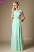 Mint Green Long Modest Bridesmaid Dresses With Cap Sleeves Beaded Crystals Belt Ruched Bling Bridesmaid Gowns 2019 Custom Made