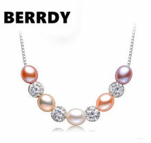 HOT 925 Sterling Silver Necklace Chain, Real Freshwater Pearl Pendant Necklace 8-9mm Big Pearl Size, Nice present(China)
