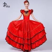 Красный костюм для фламенко для женщин, платья для испанского фламенко, сценическая Женская юбка с коротким рукавом для танцев
