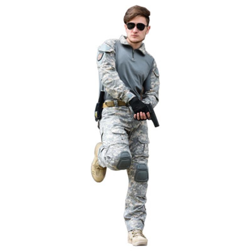 Fans militaires Camouflage imprimé ensembles armée vert noir patchwork à manches longues T-Shirts pantalons soldats Combat tactique costumes de plein air
