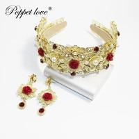 Luxury Jewelry Rhinestone Queen Gold Crown Tiaras Princess Crown set Headdress Wedding Bridal Gold Tiara Crown Hair Accessories
