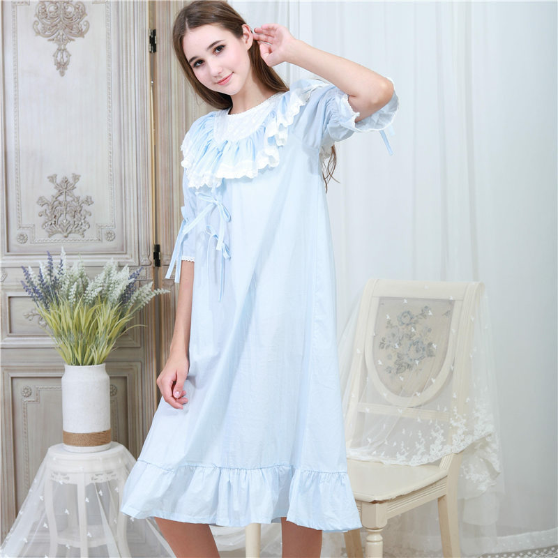 Aliexpress.com   Buy Victorian Autumn Sleepwear Women Plus Size Nightgown  Long Sleep Shirt Slash Ruffle White Lace Cotton Night Wear Home Dress T317  from ... 0618ae82c