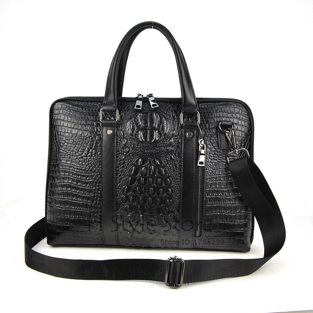New Fashion Genuine Leather Bag Men Shoulder Messenger Cross Body Crocodile Alligator Pattern Business Travel