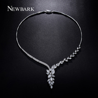 NEWBARK Anisomerous Marquise Cutting Statement Necklace White Gold Plated Top Quality 3A CZ Bride Necklace Vintage