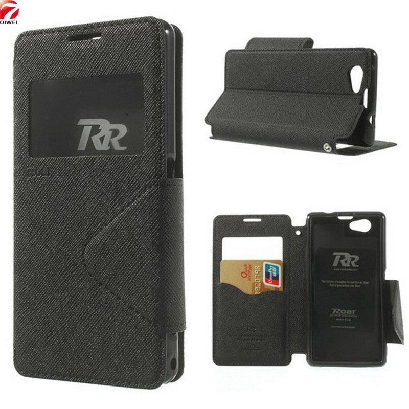 Para Sony Xperia Z1 caja compacta diario VER ventana Flip Funda de cuero para Sony Z1 compacto Z1 mini d5503 m51w teléfono Carcasas