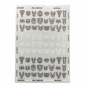 Image 2 - 1pc Abstract Animal 3D Nail Art Stickers Folding Lions Nail Sticker Origami Animal Flexagon Adhesive Decals
