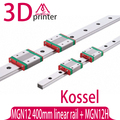 3D impresora parte Kossel Mini para 12mm Guía Lineal MGN12 L 400mm carril linear + MGN12H carro lineal Largo de CNC Xyz eje