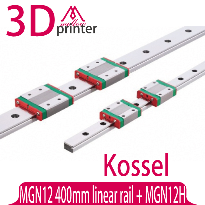 3D printer part Kossel Mini for 12mm Linear Guide MGN12 L 400mm linear rail + MGN12H Long linear carriage for CNC X Y Z Axis mgn12 1h l600 linear rail and carriage for kossel xl