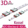 Peça da impressora 3D Kossel Mini para 12mm Guia Linear MGN12 L 400mm linear trilho + MGN12H transporte linear Longa para CNC X Y Z eixo