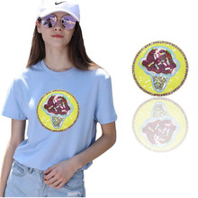 Circle shape mushroom pattern embroidered Iron on patches for clothing Sequins patches DIY applique patch girl's clothes sticker