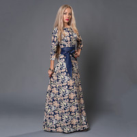 S.FLAVOR Women long Dress hot sale 2019 Spring Summer Russian Style Print Dresses Long Floor Length Elegant Party vestidos