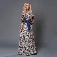 S.FLAVOR Women long Dress hot sale 2019 Spring Summer Russian Style Print Dresses Long Floor Length Elegant Party vestidos