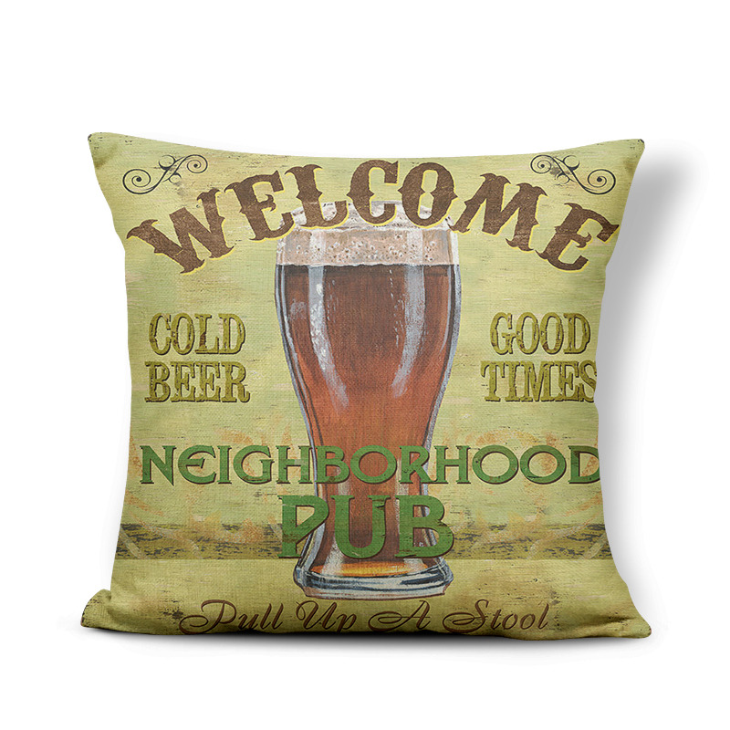Retro Poster Cushion Cover Watercolor Bar Cold Beer Man Cave Pillow Case Cover Decor Home Throw Pillow Large Linen Blend Funny 1