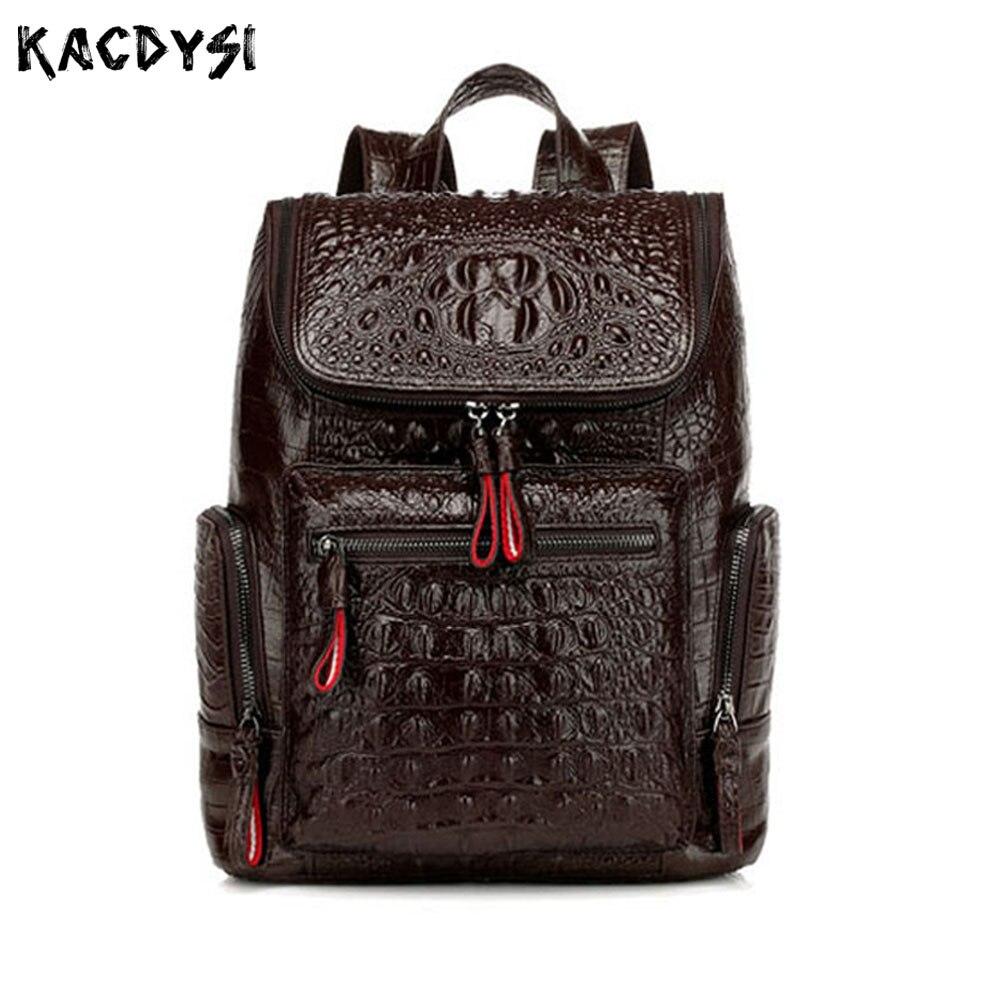 560cc5b8b568 2019 дизайн натуральной крокодиловой узор женский рюкзак аллигатора Мода из  коровьей кожи Женский школьные сумки для