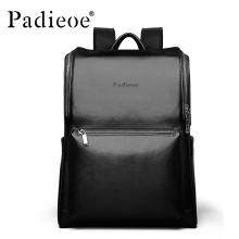 Padieoe 2016 New Design Genuine Leather Men Backpacks Fashion Backpacks for Teenage Girls Casual Laptop Solid Men School Bags
