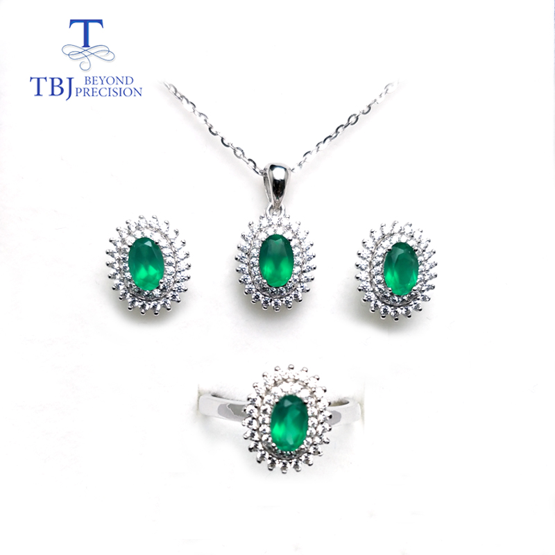 TBJ,100% natural green agate 2ct oval cut gemstone fine dianna jewelry set 925 sterling silver ring pendant earring for women tbj 2018 new enamel jewelry set pendant earring ring 925 sterling silver fine jewelry with leather chord necklace for women gift