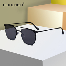 CONCHEN 2019 Square Men Driving Sun Glasses UV400 Alloy Frame Retro Sunglasses For Women Sunmer