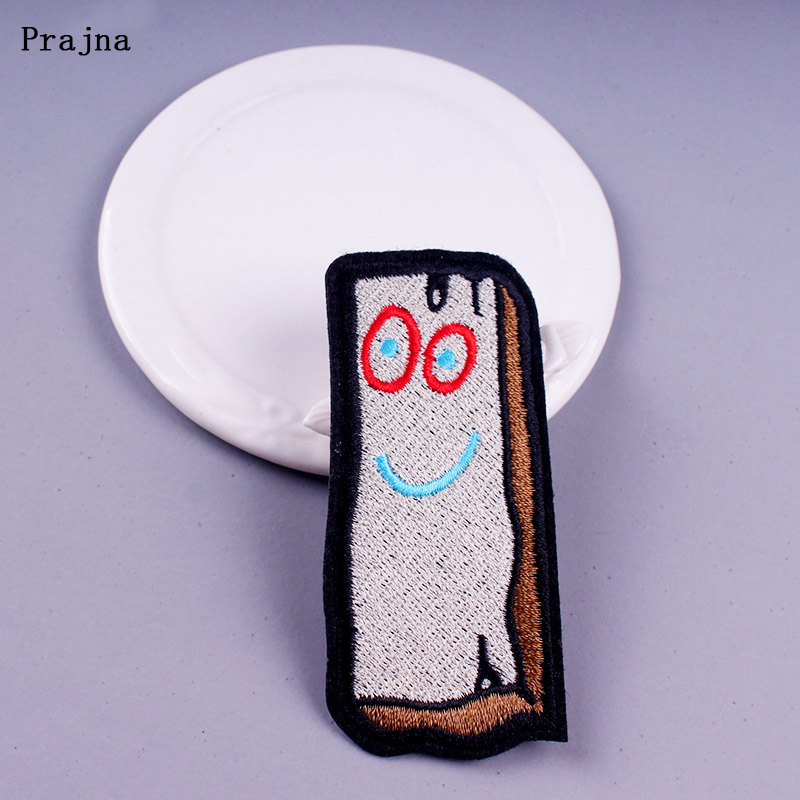 Prajna Wood Brick Patch Embroidered Iron on Patches for Clothing Cartoon DIY Sewing to Clothes Stickers Accessory Badge F