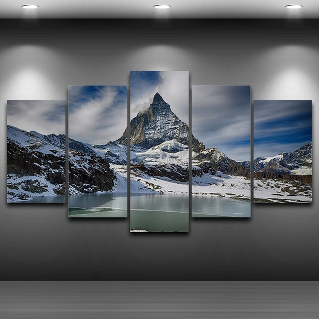 Snow Mountain Spray Oil Painting Decoration Framed wall art picture ...