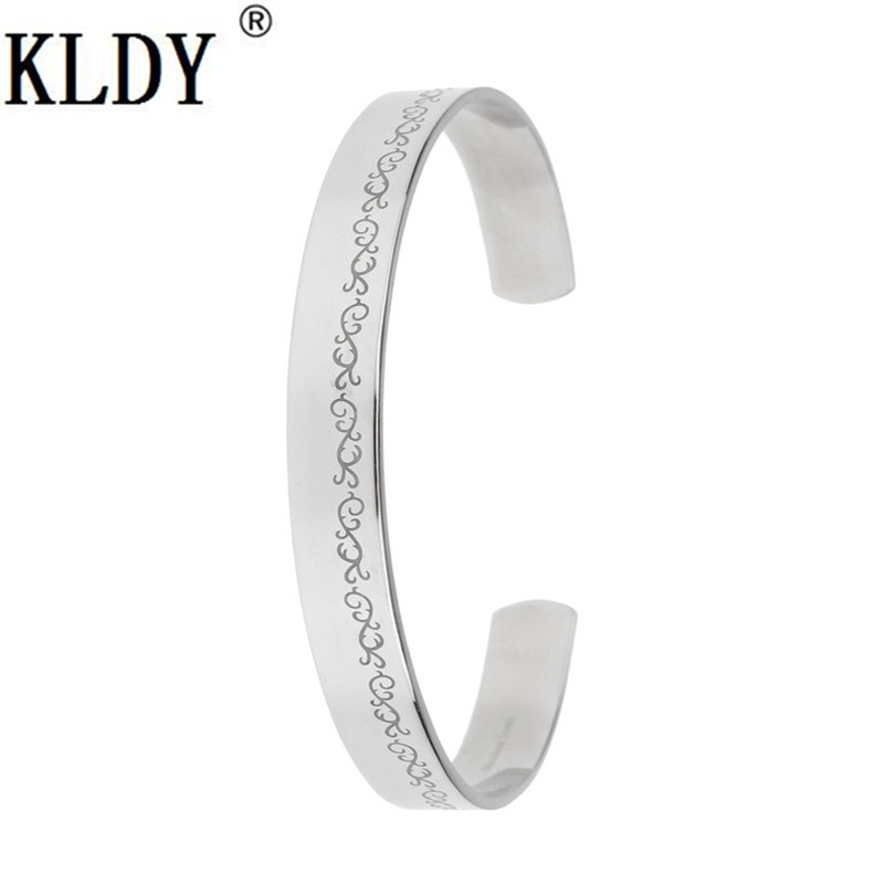 KLDY Stainless Steel Open Bracelet Rune Love is always beside us and forever Couple Bangle Best Gift for lover Family Friends - Click Image to Close