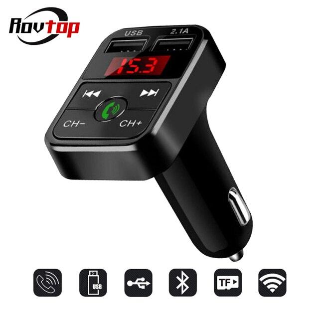 Rovtop manos libres inalámbrico Bluetooth coche Kit transmisor FM tarjeta LCD MP3 reproductor Dual USB 2.1A cargador de coche cargador de teléfono