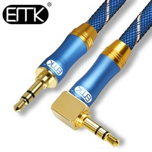 EMK 90 Degree right angle 3.5mm AUX Audio Cable Male to Male 3.5 Jack