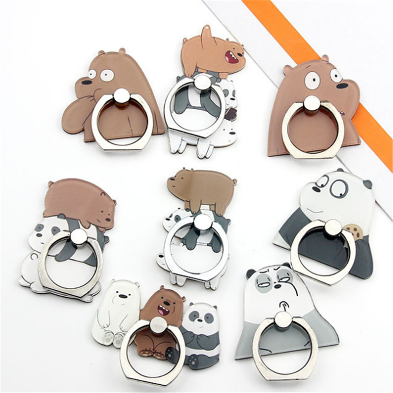 UVR 360 Degree Cartoon Animal Finger Ring Smartphone Stand Holder Mobile Phone Funny Bear Holder Stand For IPhone All Phone