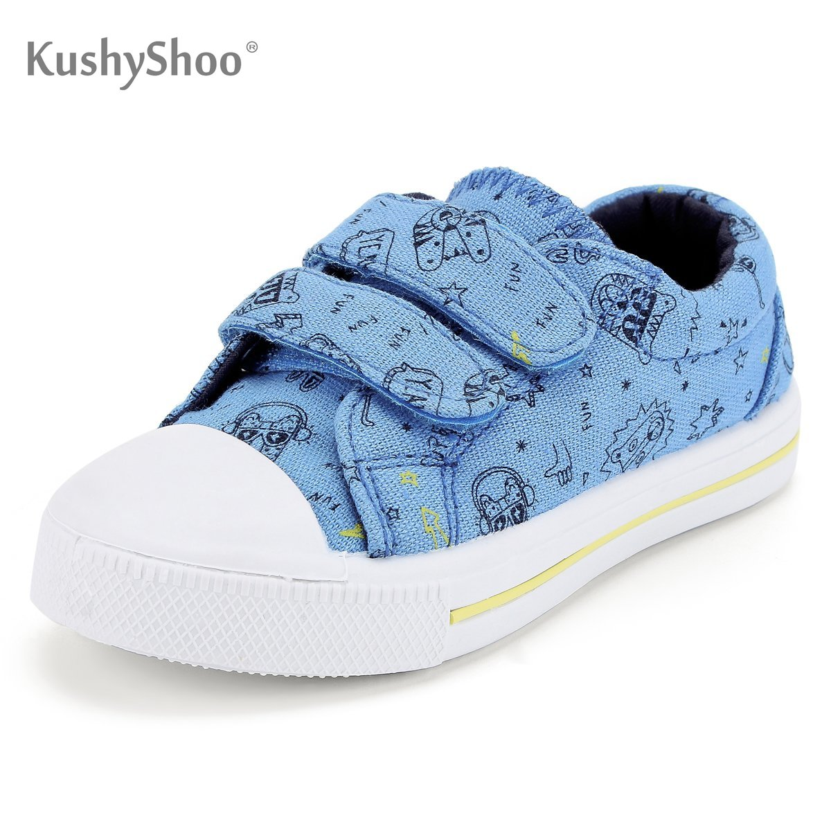 KushyShoo Toddler Sneakers Boys Cartoon Dual Hook And Loops Girls Sneakers Baby Canvas Shoes Children's Sneakers Shoes Kids