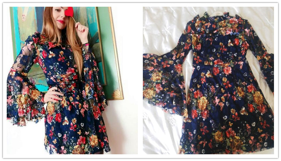 549d4517ec1 Dropwow SHEIN Flower Print Swing A Line Summer Dress Long Sleeve ...
