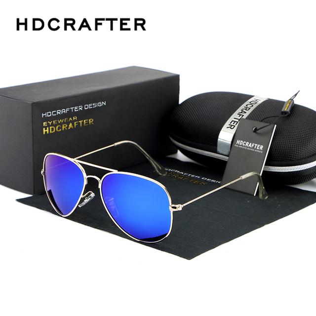 Hdcrafter lente espelho óculos de sol dos homens de alumínio e magnésio polarizada óculos de sol masculino óculos de condução com caixa de acessórios dos homens