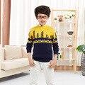 Bebê Meninos Marca De Luxo Camisola 2016 Novas Crianças Dos Desenhos Animados da Moda Roupa dos Miúdos Blusas De Lã Meninos De Algodão Camisola Bebê Cardigan