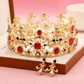 2016 Новая Мода Большой Европейский Невеста Свадебный Венец Золотой Покрытием Австрийский хрусталь Большой Королева Корона Свадебные Аксессуары Для Волос