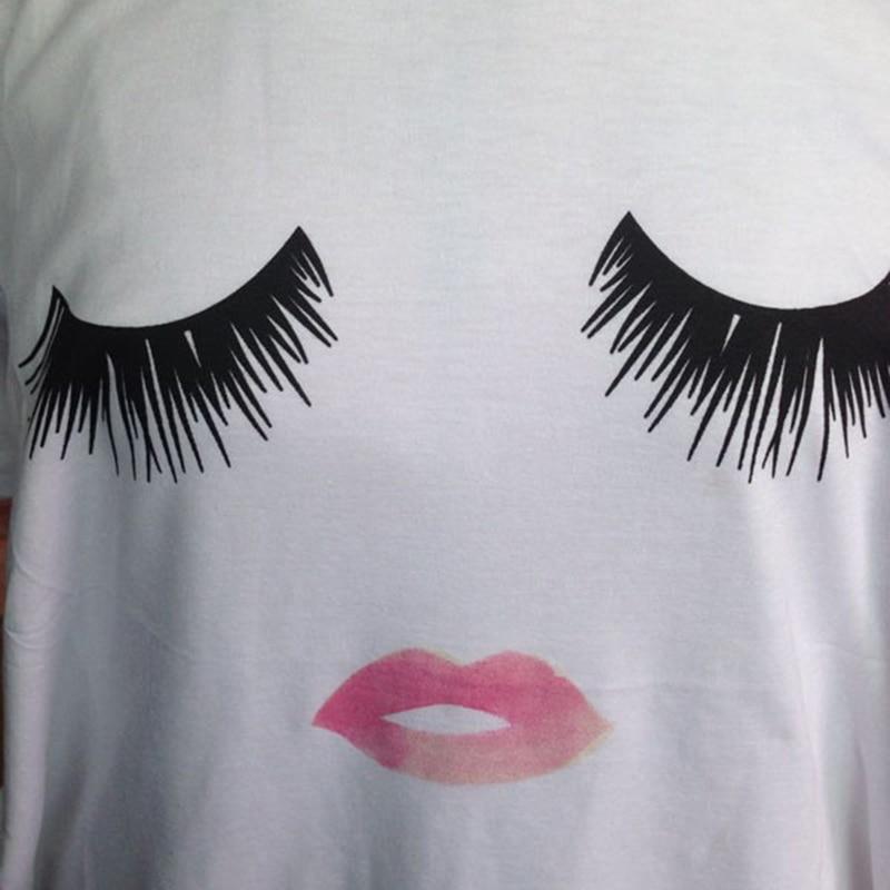 326c333c43330 S L verano mujeres camiseta Casual de pestañas labios impresión camiseta  mujer Harajuku Top blanco jerseys Top Tees en Camisetas de La ropa de las  mujeres ...