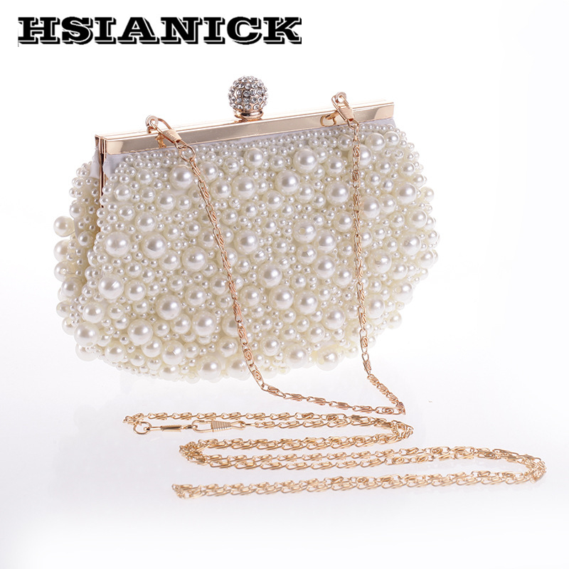 2017 New Arrival Woman Elegant Exquisite Pearl Handicraft Clutch Bag Handmade Small Handbag Party Dinner Wedding Bride Evening 2017 new mini shoulder messenger bag famous brand luxury elegant bead evening bag clutch pearl handbag bride bags for wedding