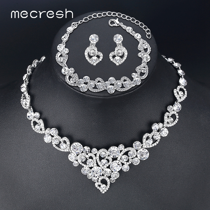 Mecresh Heart Crystal Wedding Bridal Jewelry Sets Silver Color Rhinestone  Wedding Jewelry Necklace Sets for Women TL310+MSL285 c75fcdac90ed