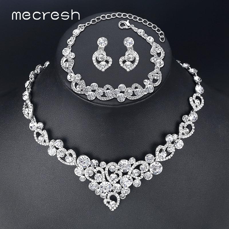 Mecresh Heart Crystal Wedding Bridal Jewelry Sets Silver