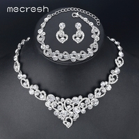 Mecresh Romantic Heart Crystal Wedding Jewelry Sets Silver Color Bridal Necklace Earrings Bracelets Sets For Women