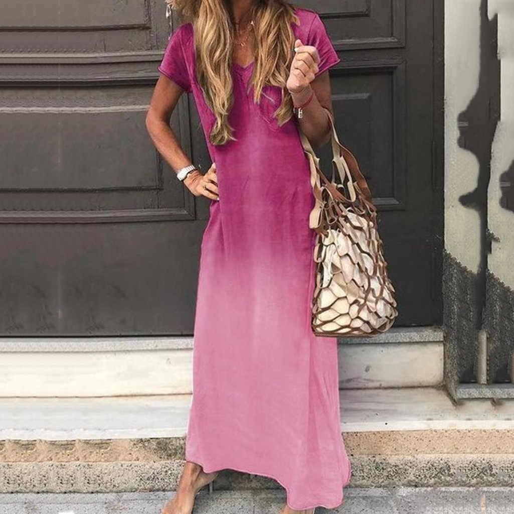 Женское платье больших размеров, женское платье с коротким рукавом, с завязками, с градиентным принтом, макси, цветовые блоки, богемное черное платье, Дамская #35