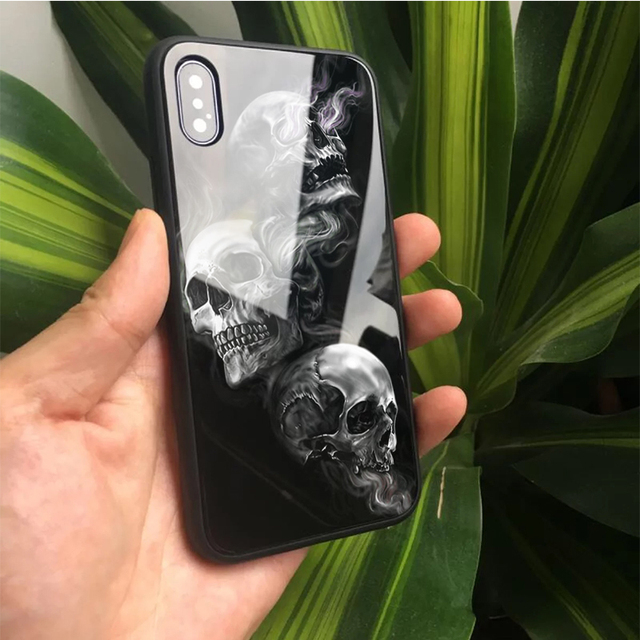 3D SKULL THEMED LUXURY TEMPERED GLASS IPHONE CASE (15 VARIAN)