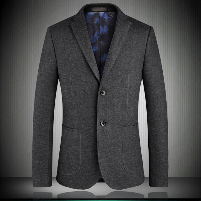 High quality men blazers 2018 spring new solid EU style single breasted man suit jacket Dark green blue black gray S-4XL 1751
