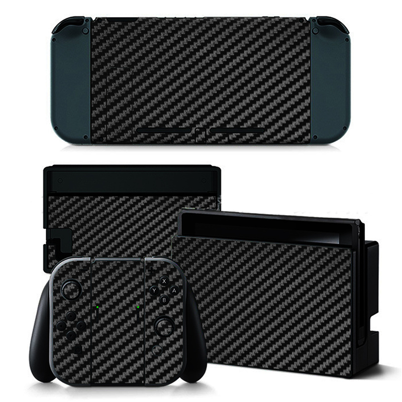 For Nintend Switch Black Carbon Fiber Skin Full Wrap Sticker Decal Protector Vinyl Game Protective Skin Sticker For NS Console graf design protective decal skin sticker for nintendo 3ds xl 2014