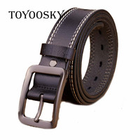 Men Belt Genuine Leather Pure Cowhide Trousers Belt Pin Buckle Business Sewing Thread