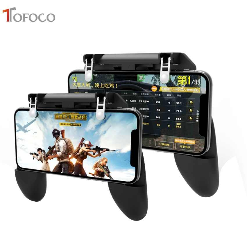 W10 For PUBG Controller Game Mobile Trigger Aim Button L1R1 Joystick Phone Gamepad 4.5-6.5inch Android iOS Compatible Phone