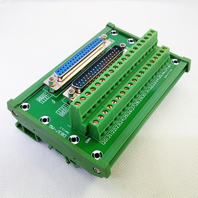 D-SUB DB37 DIN Rail Mount Interface Module, Male/Female Header Breakout Board, Terminal Block, Connector.